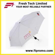 Personalizado 3 plegable paraguas abierto manual con pantalla de impresión