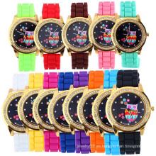 Reloj de silicona de gelatina de color caramelo de dial de buho con diamante