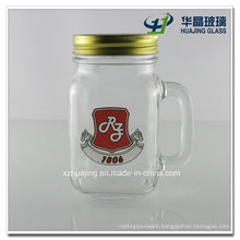 16oz 500ml Custom Made Logo Drinking Glass Jar