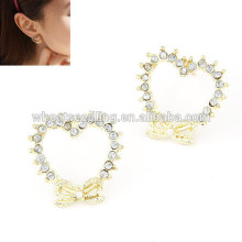 Heart love diamond front back earrings for Christmas gift