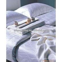 Atacado barato 300 T padrão de verificação de algodão branco King SIze cama do hotel