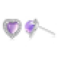 Women′s 925 Sterling Silver Fashion Elegant Heart-Shaped Amethyst Stud Earrings