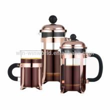 Théière de café de presse française d'acier inoxydable de cuivre de 350ml portatif