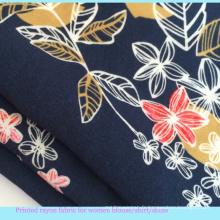 Tissu de viscose de chemise de dame imprimée de fleurs 2016
