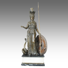 Mythology Figure Sculpture en bronze Athena Home Decor Statue en laiton TPE-113