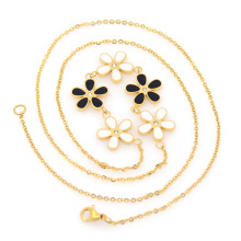 Gold bar charms necklace, eyeglass cord handbag hardware chains