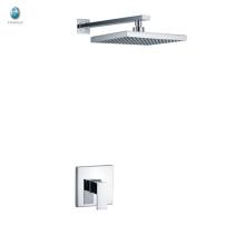 KI-09 acciones precio de fábrica de baño ducha de lluvia de cromo latón cuadrado y manejar gran ducha oculta