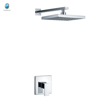 KI-09 stocks factory price bathroom brass chrome square rain shower and handle big concealed shower