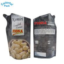 El bolso personalizado del canalón de la forma plano y levántese empaqueta la bolsa nuts de Doypack para la bebida del aceite del jugo de agua