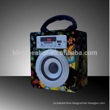 Super Bass Portable Bluetooth Wooden Sound Box Speaker, Support SD Card/USB/MMC
