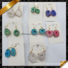 Vente en gros de bijoux en Chine Boucles d'oreilles en forme d'arate naturelle Druzy (FE070)