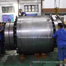 Válvula de esfera de operação de engrenagem montada grande diâmetro Trunnion