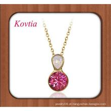 Jóias finas de duas cores de cristal de ouro mulheres nephrite colar de jóias de jade