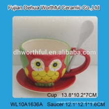 Lovely owl design ceramic coffee cup with spoon,ceramic coffee cup with saucer