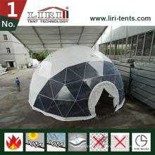 Tentes à dôme géodésique de 19m avec fenêtres rondes pour films