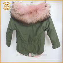 Exército Verde Best Quality Fox Child Jacket forrado de pele Parka
