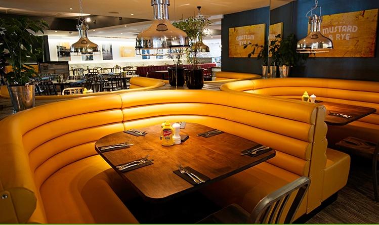 Restaurant Corner Love Seat Leather Booth
