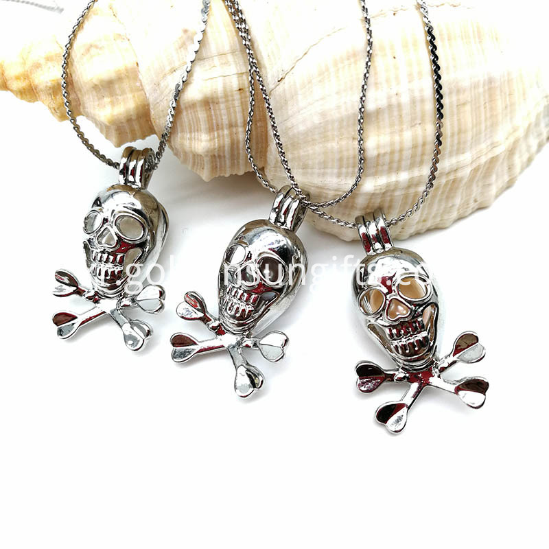 Skull Silver Pendant Necklace Women Jewelry