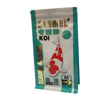 A categoria superior do reforço do lado do projeto personalizado laminou sacos de empacotamento do fechamento plástico do fecho de correr para o alimento de peixes / alimentação