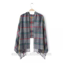 Ladies new arrival plaid viscose long scarf/shawl