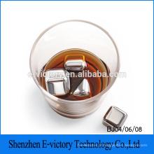 Pedras de whisky novo - conjunto de bebida Premium 4 refrigeração gelo reutilizável de aço inoxidável cubos cubo de gelo de aço inoxidável