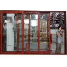 Laminated glass heavy duty aluminium profile burglar proof sliding glass doors