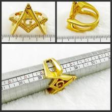 18k überzogener Goldfreimaurer-Finger-Ring