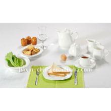 47pcs emboss conjunto de jantar de cerâmica