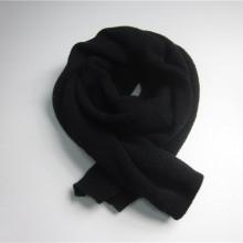 Черный длинный трикотажный шарф из полиэстера