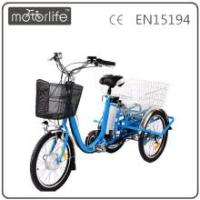 MOTORLIFE / OEM marca EN15194 36 v 250 w três rodas bicicleta elétrica, adulto ebike