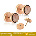 Rose Gold Plated Stud Earrings Surgical steel Cheater Ear Plugs Gauges
