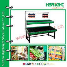 Étagère à 2 étages pour jardin et légumes pour supermarché