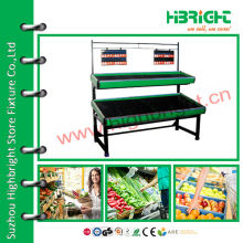 2 tiers fruit and vegetable display rack for supermarket