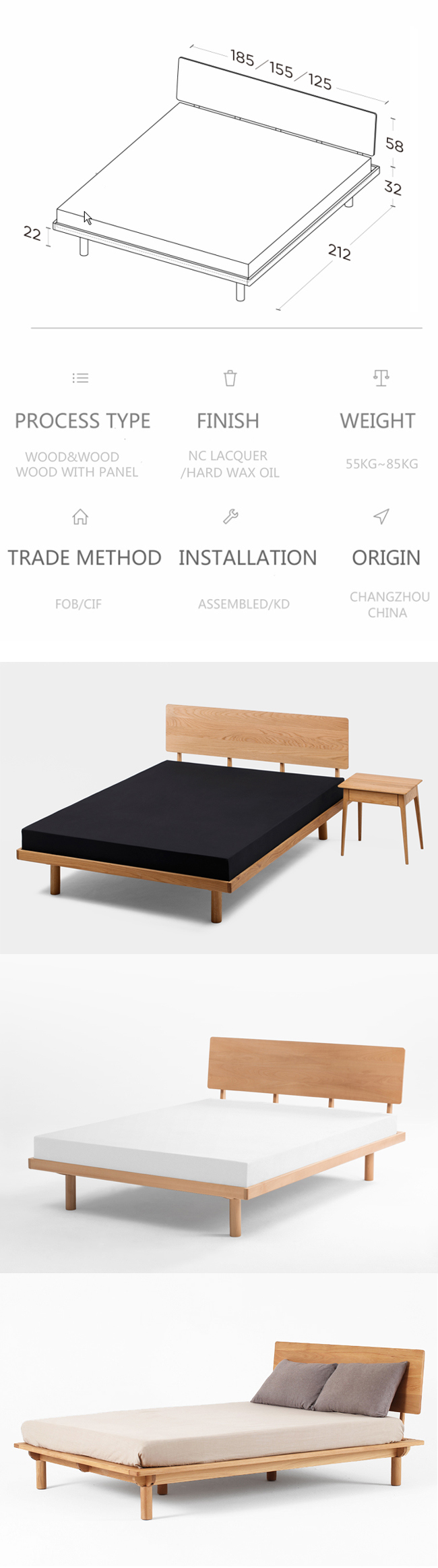 Antique-Modern-Oak-Living-Room-Solid-Wood-Bed-Frame(6)