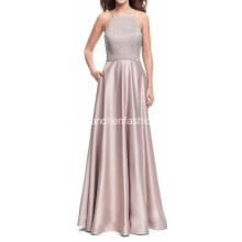 Beading Silk Satin Evening Gown Long Dress
