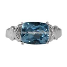 Schöner Himmel Blauer Topas Edelstein 925 Sterling Silber Ring