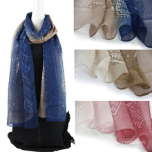 Two tone color emboidery 100% silk scarf with Sequins