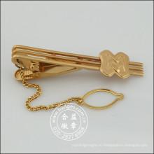 Золотой зажим для галстука с эмблемой и цепочку, булавку для галстука (GZHY-ТК-072)