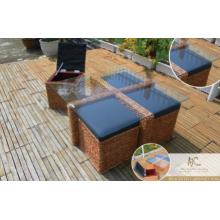 Sala de estar de design novo Conjunto de sofá de vime (mão tecida por vime, jacinto e moldura de madeira)