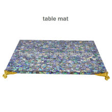 CBM-MP New Style paua shell placemat with golden corner