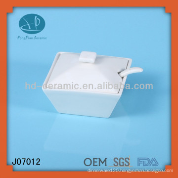 square white ceramic jars with lid and spoon,wholesale sugar pot with lid and spoon