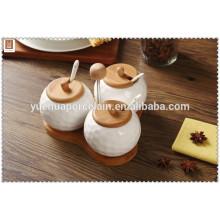 new design chaozhou porcelain 3 compartment jar condiment set
