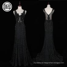 Trabajo hecho a mano hermosa celebridad floral negro vestidos largos noche