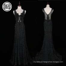 Handwork bela celebridade floral preto longo vestidos noite