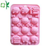 Molde dos doces do silicone da forma 12Cavity do porco para o chocolate