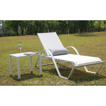 Outdoor Patio Chaise Lounge Chair with Side Coffee Table for Hotel Pool Deck Backyard Beach