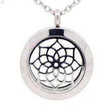 difusor de aroma de acero inoxidable y medallón colgante de disco de moneda, colgante difusor de medallón