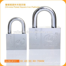 Factory Price New Product Hardene Chrome Plated Square Iron Vane Key Padlock Brands