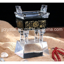 China Glass Art Ancient Chinoiserie Crystal Ding with Black Base
