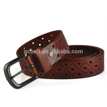 Light brown col of 38mm width cutout design for man's genuine leather belt